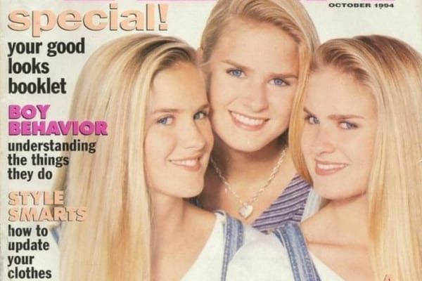 Jaclyn, Erica, and Nicole wearing denim dungarees as they pose for the front cover of Teen magazine at 16 years old