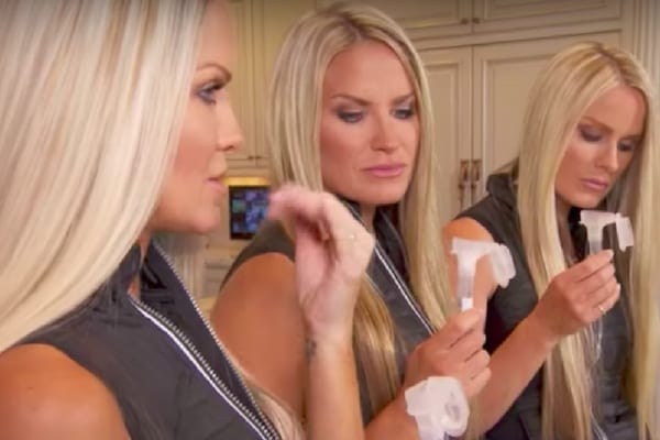 Jaclyn, Erica, and Nicole giving their DNA saliva sample backstage at The Doctors to see if they have matching results