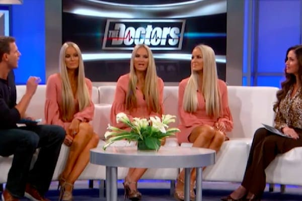 Travis Stork, Lisa Guerrero, and Jaclyn, Erica, and Nicole discussing the accuracy of home DNA test kits