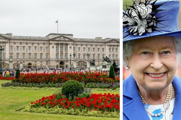 Buckingham Palace surrounded by red flowers, and Queen Elizabeth II wearing a navy blue outfit and matching hat