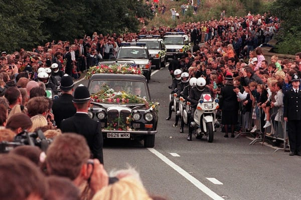 Procession of the hearse and car at Princess Diana's funeral on September 6, 1997, with two billion people watching around the world