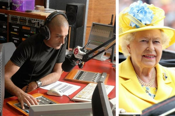 A BBC radio DJ wearing headphones in front of a microphone at the decks, and Queen Elizabeth II wearing a yellow outfit