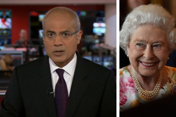 A BBC newsreader wearing a black suit and dark purple tie, and Queen Elizabeth II wearing a floral top and pearls