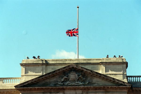 The Union Jack lowered to half-mast for the first time to commemorate the late Princess Diana in 1997