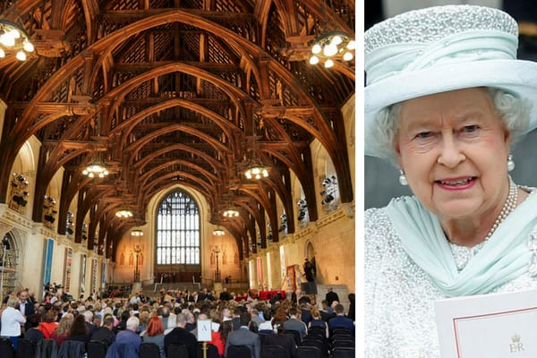 The arches of Westminster Hall filled with people, and Queen Elizabeth II wearing a mint green lace outfit and hat