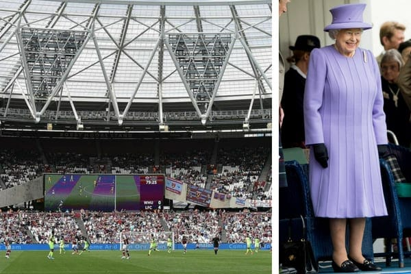 West Ham football stadium filled with fans, and Queen Elizabeth II smiling while wearing a lavender dress and matching hat