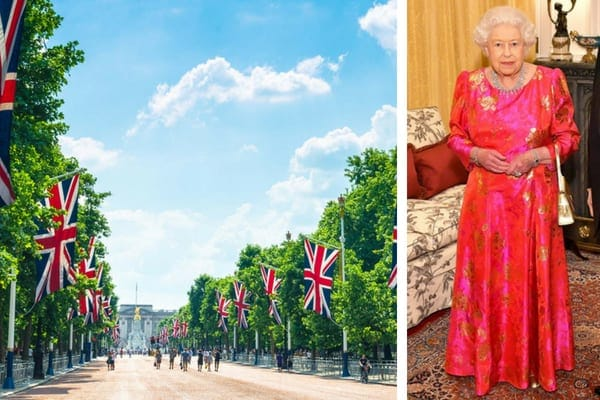 A nearly empty street outside of Buckingham Palace, and Queen Elizabeth II wearing a red and gold ballgown