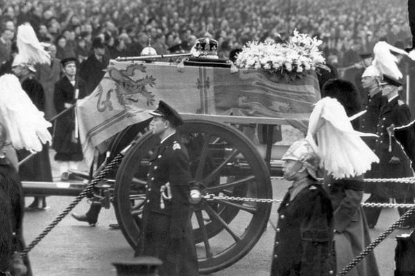 King George VI's coffin with his crown on a gun carriage at his funeral on February 15, 1952