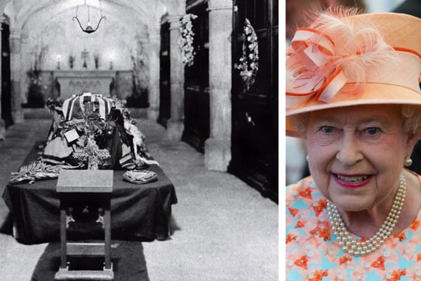A photo from inside the Royal Vault at Windsor Castle, and Queen Elizabeth II wearing a blue and orange outfit with matching hat