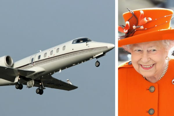 The royal jet flying through the air, and Queen Elizabeth II wearing a bright orange jacket and matching hat