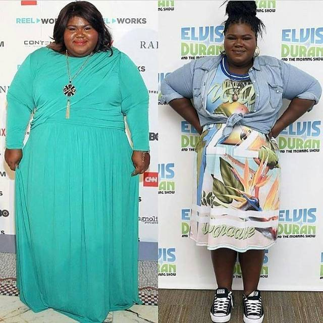 Gabourey Sidibe in a blue dress on the left, and Gabourey after her weight loss surgery in a printed dress and denim jacket on the right