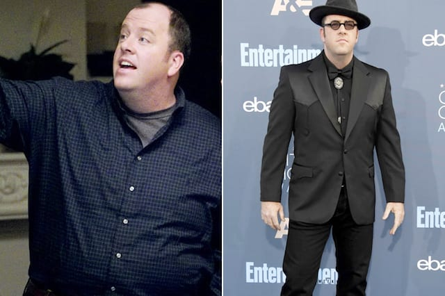 Chris Sullivan wearing a fat suit in This Is Us on the left, and Chris slim in a black suit and matching hat on the right