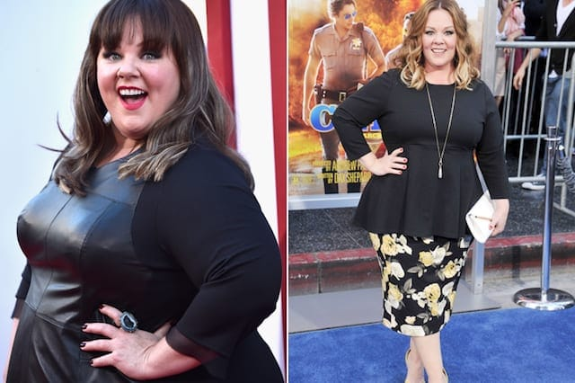 Melissa McCarthy with dark hair and a black dress on the right, and Melissa 75 pounds lighter with light hair on the right