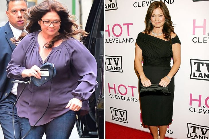 Valerie Bertinelli wearing a purple shirt after gaining 175 pounds on the left, and Valerie a lot slimmer in a black dress on the right