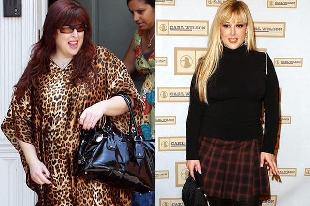Carnie Wilson with red hair in a leopard print dress on the left, and Carnie a lot slimmer in a plaid skirt and black top with blonde hair on the right